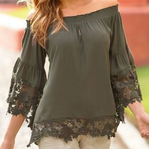 NWT Off The Shoulder Lace Trim Blouse in Olive